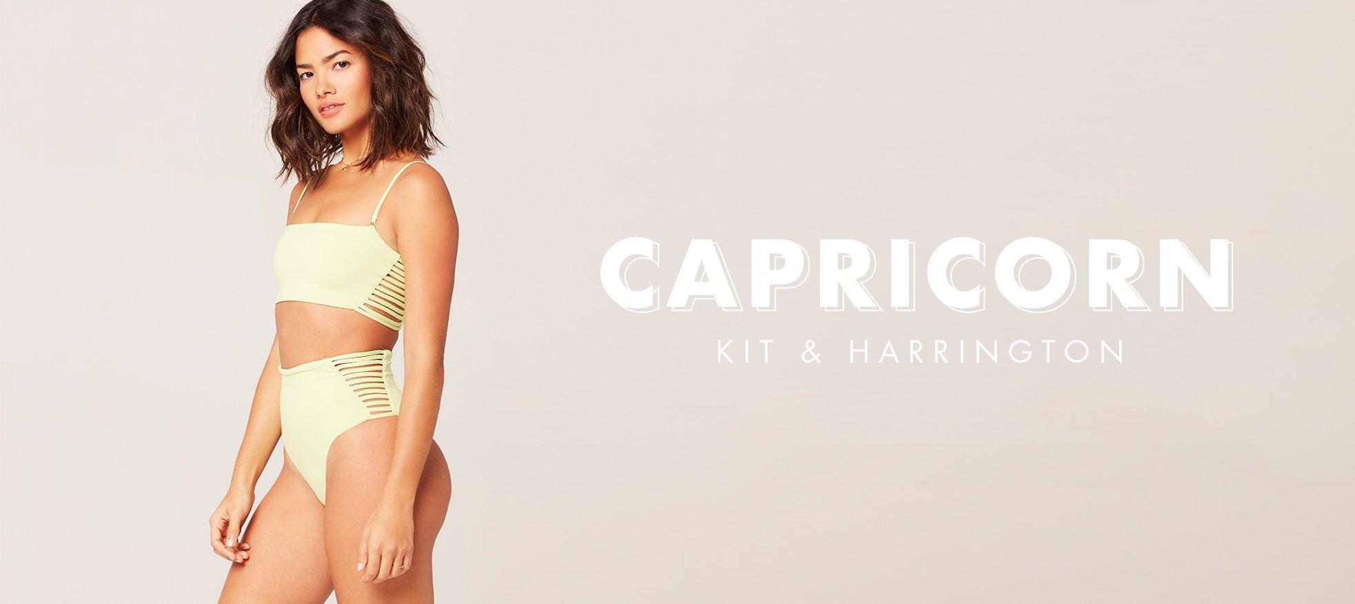 model wearing kit strappy bikini top and harrington high waist bikini bottom