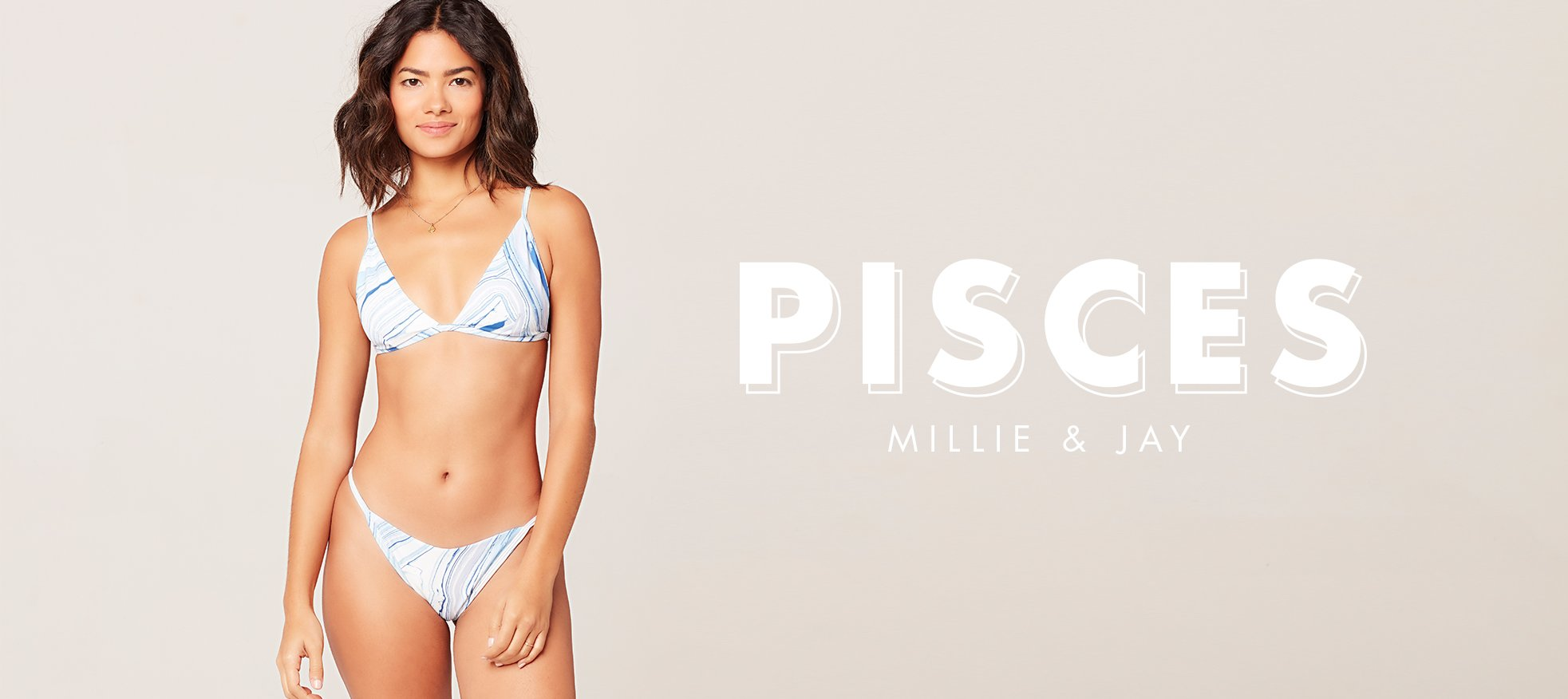 model wearing marble print millie bikini top and jay bikini bottom
