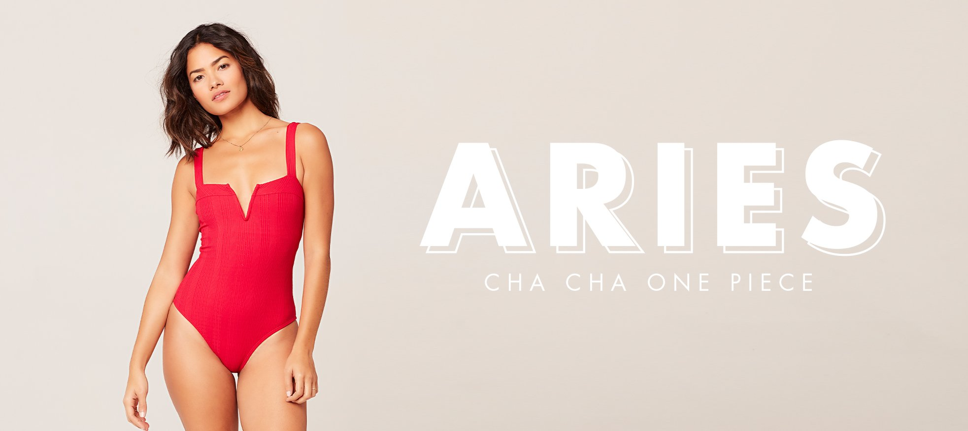 model wearing lipstick red pointelle rib cha cha one piece swimsuit