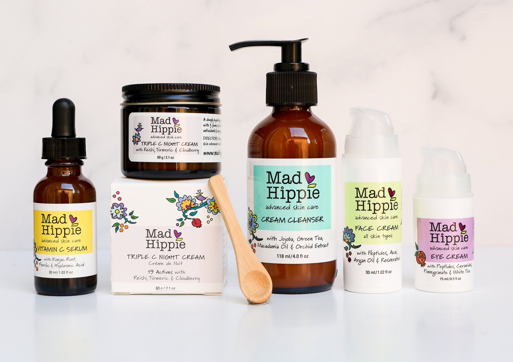 Assorted beauty products from the Mad Hippie beauty collection