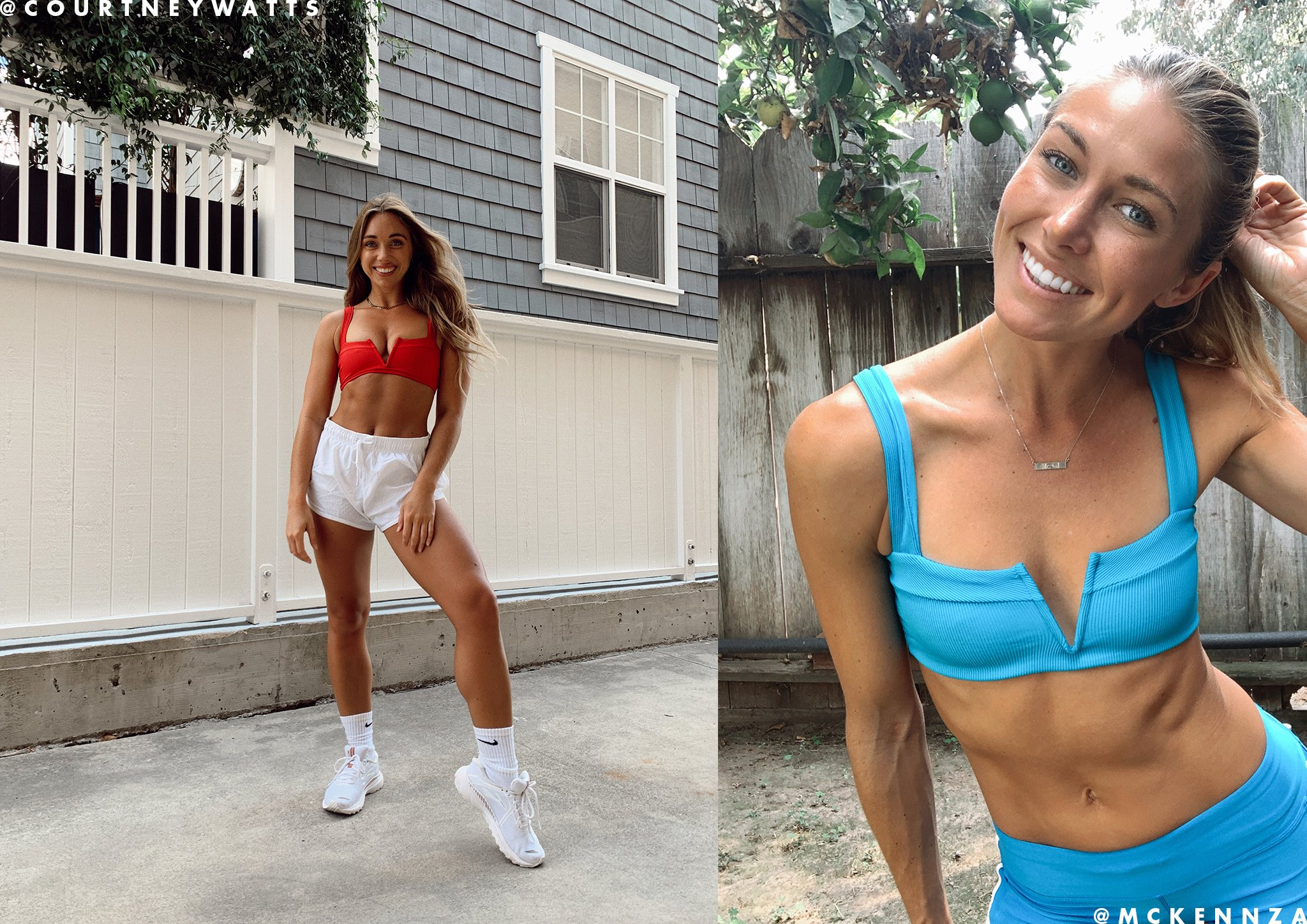 L*Space ribbed Lee Lee bikini top worn as a workout top