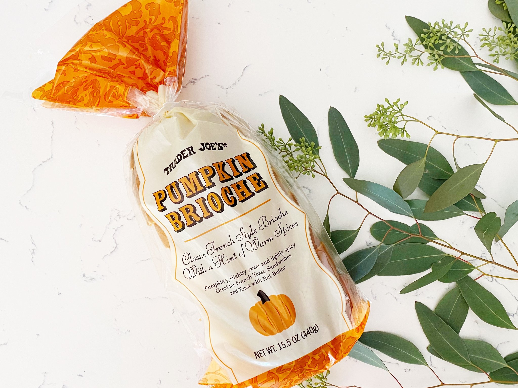 Trader Joe's pumpkin brioche bread