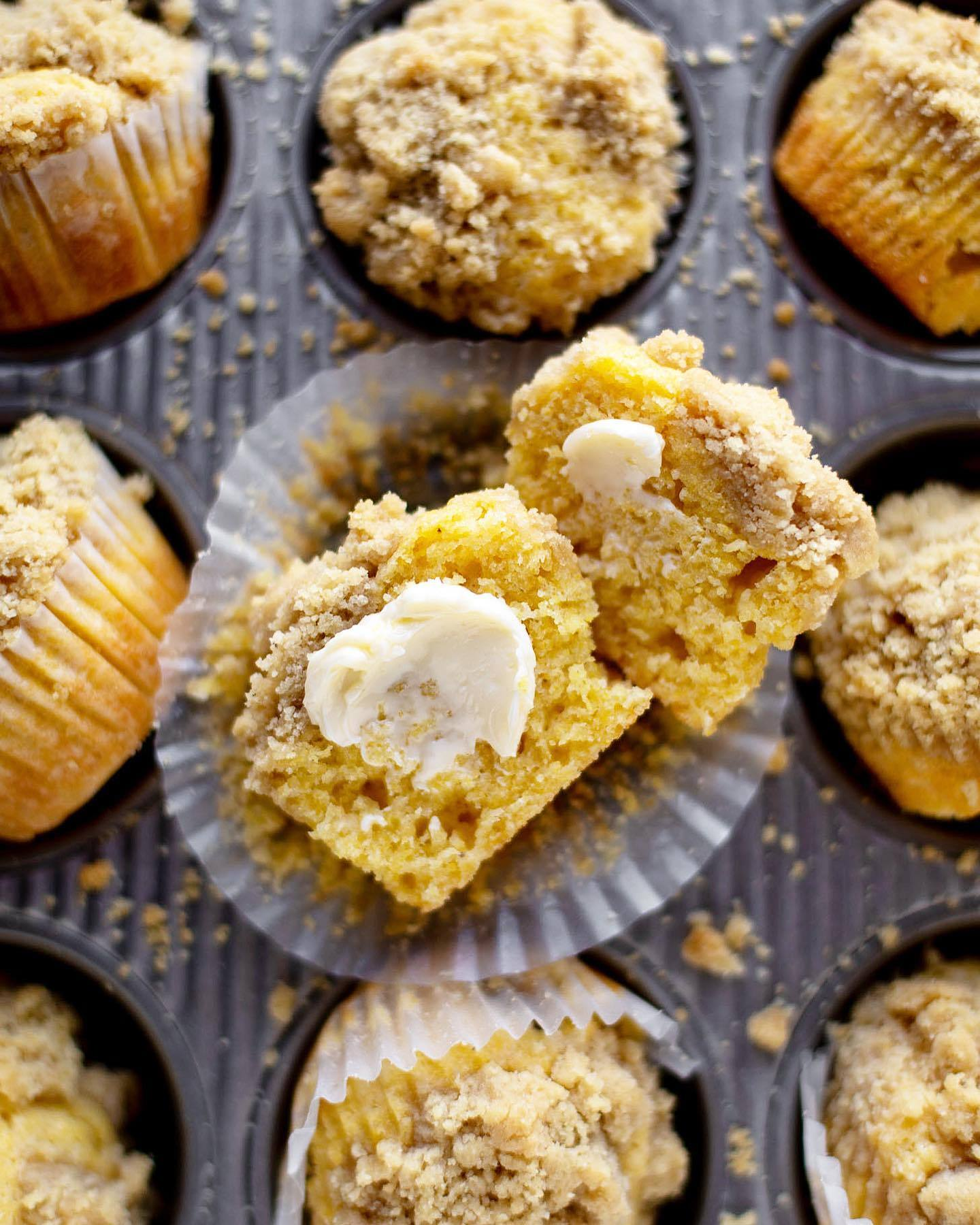 Cornbread Crumb Muffins recipe from @howsweeteats