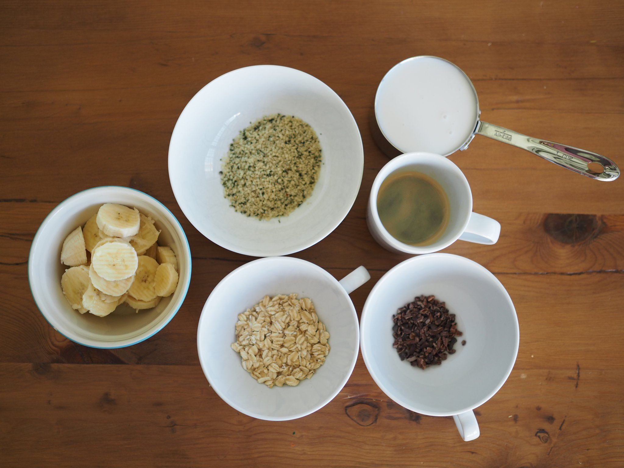 smoothie ingredients in bowls