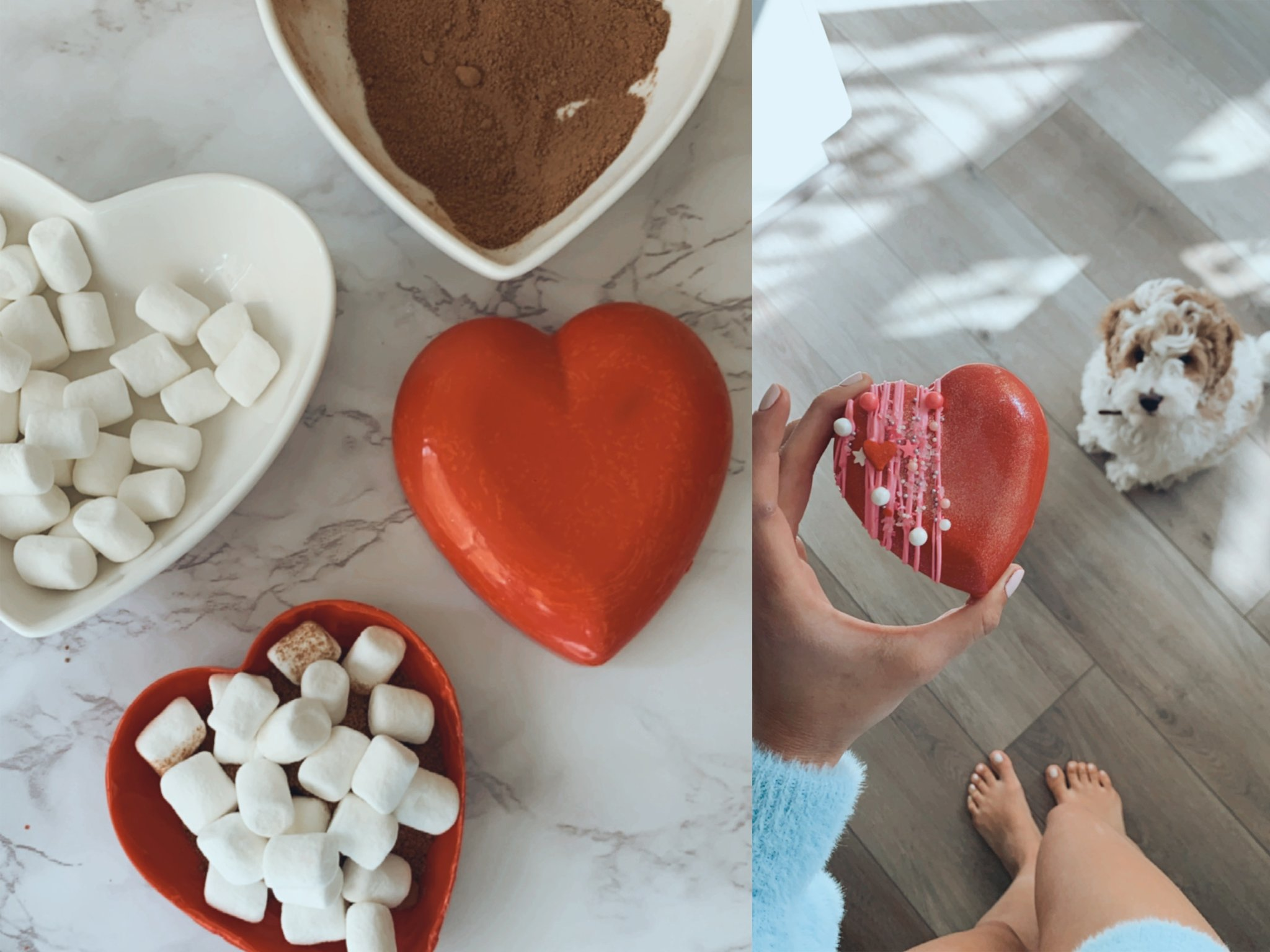 heart shaped candy and marshmallows
