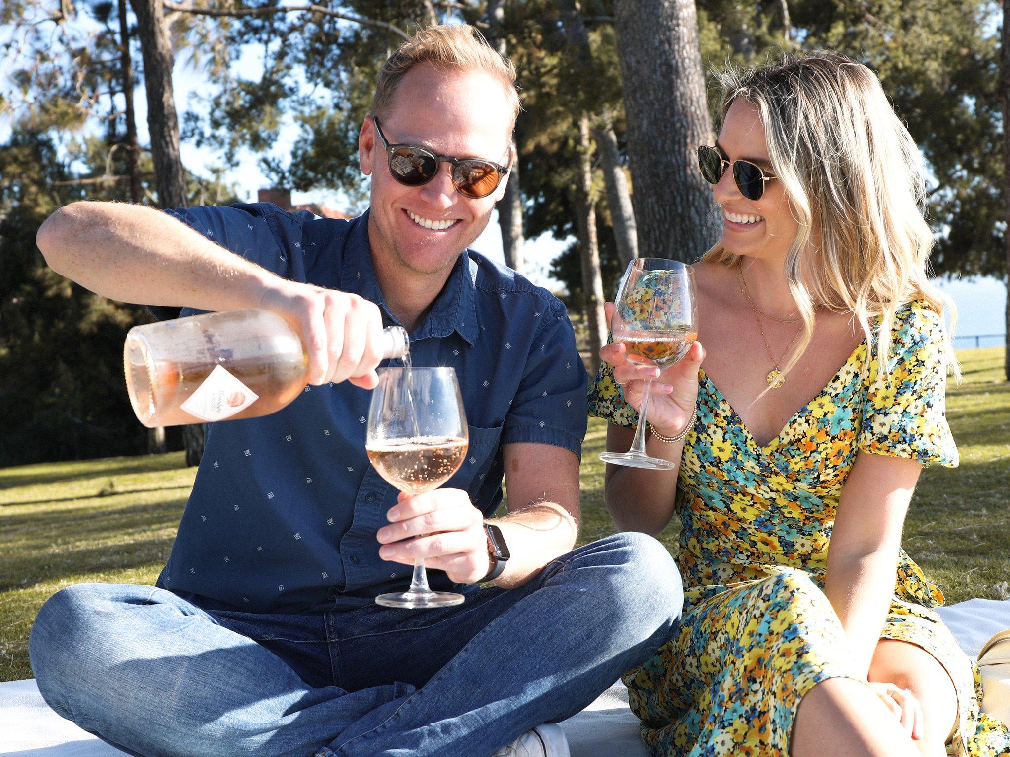 Man and woman having a picnic