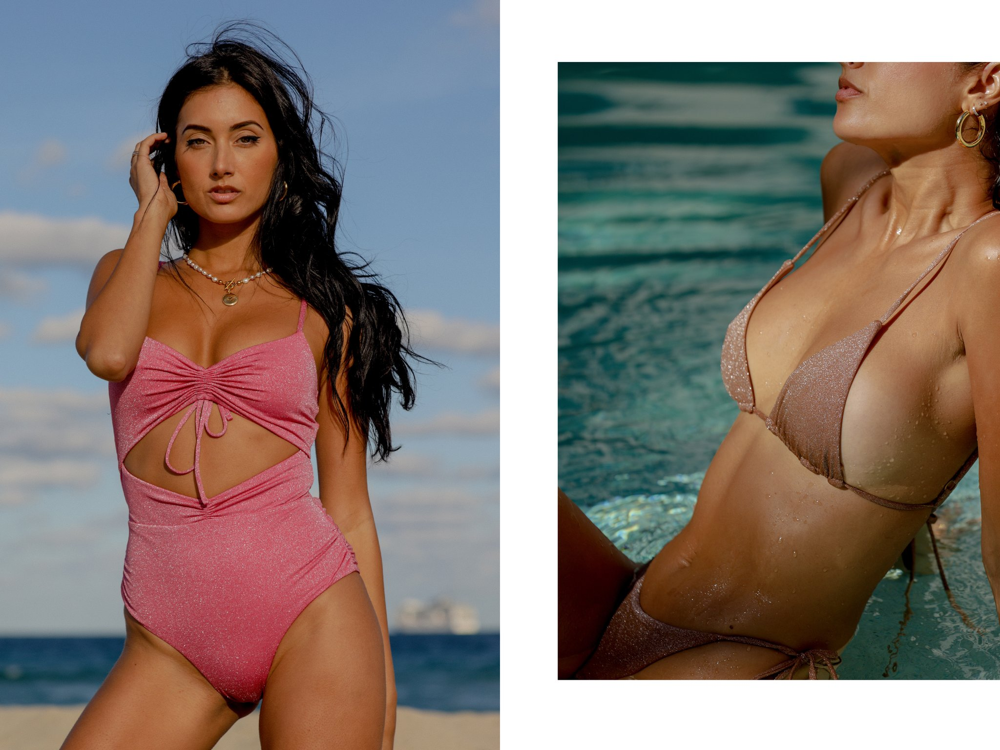 Model wearing shimmer swim styles from LSPACE