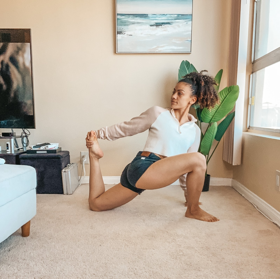 a woman stretching