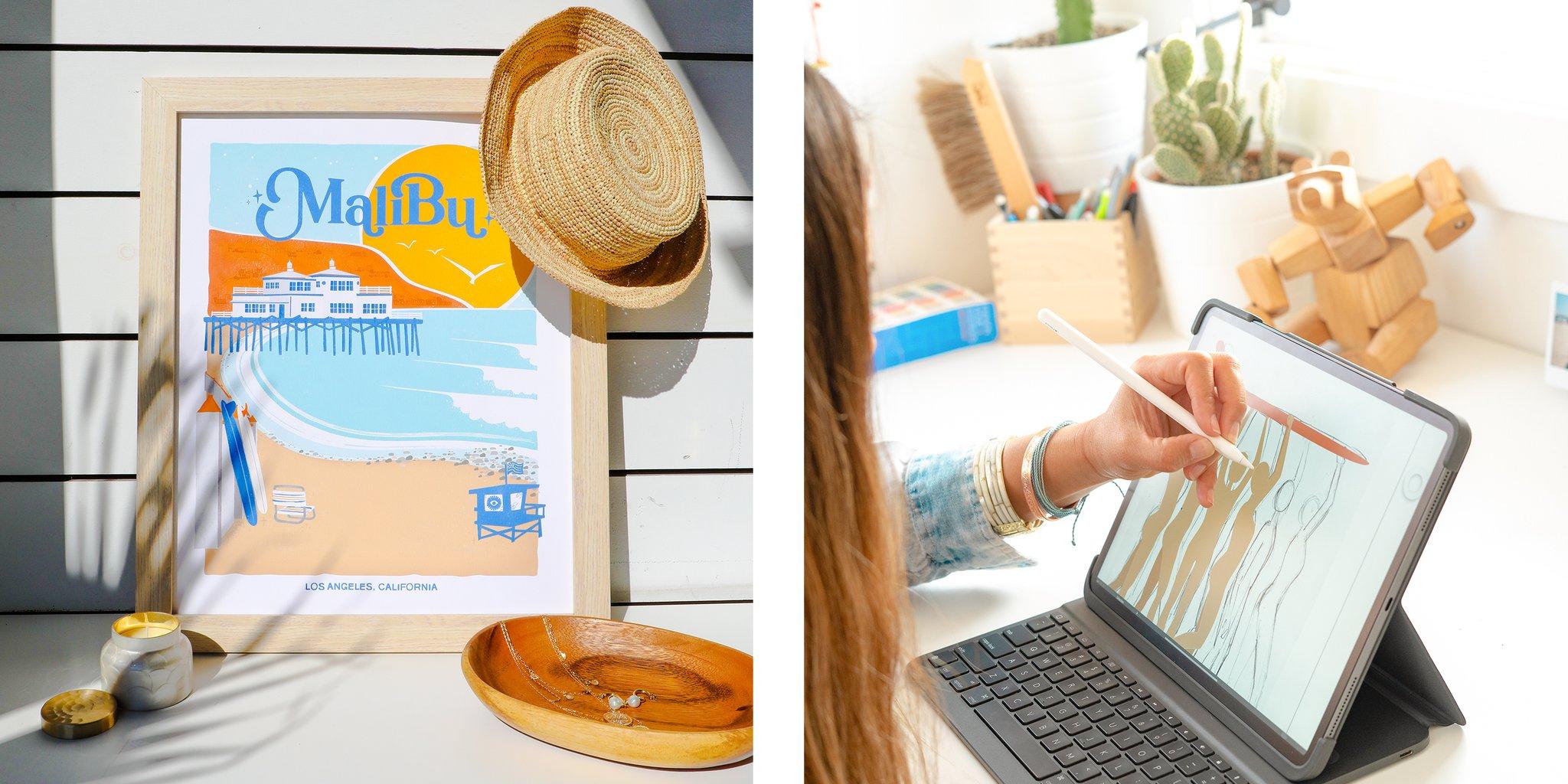 an art print and an ipad