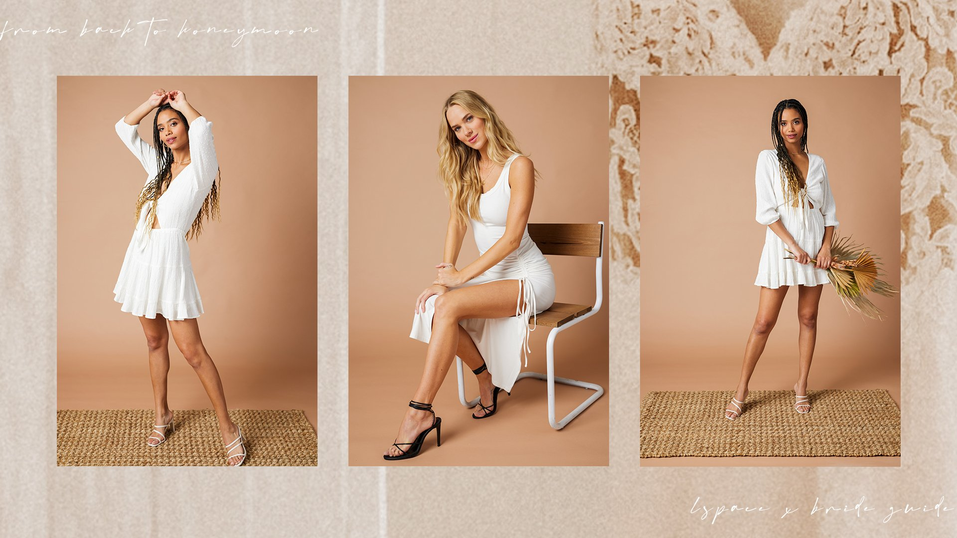 collage of three models wearing white dresses